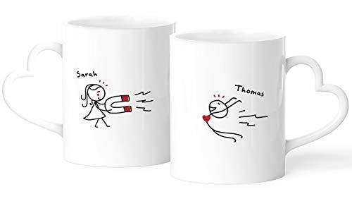 personalisierte Partnertasse 2er Set Herzhenkel Strichmännchen Liebes-Geschenk mit Namen für Paare SpecialMe® weiß Herz-Tasse