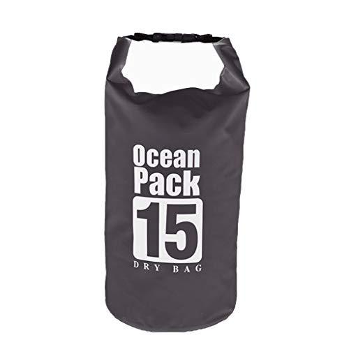 Yowablo PVC wasserdichter Packsack Sack Ocean Pack Schwimmboot Kajak Camping 15L (15L,Schwarz)