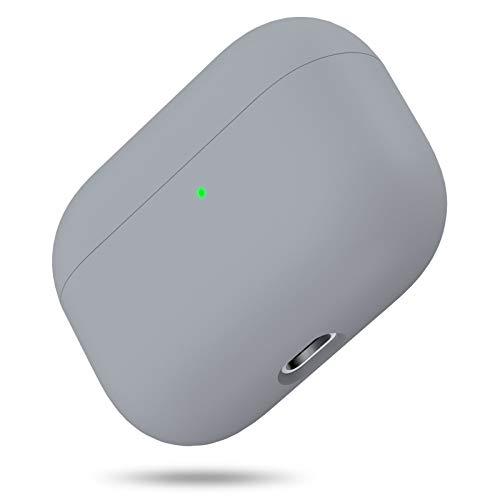 Silikon Hülle Kompatibel mit AirPods Pro, Front LED Sichtbar Hülle für AirPods 3, case für Airpods pro 2019, Zweiteilige Schutzhülle für AirPods Pro, unterstützt Kabelloses Laden(Grau)