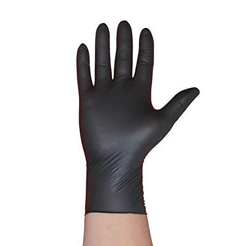 farawamu 100 guantes de nitrilo, desechables gruesos, guantes de nitrilo, sin polvo, uso médico dental, color negro M