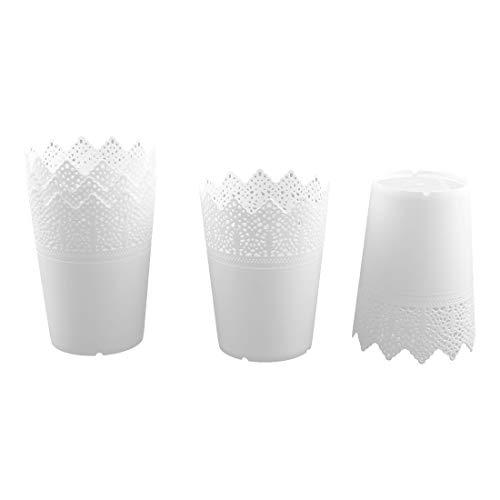 YeVhear – Caja de almacenamiento de plástico para escritorio – 5 unidades – Color blanco
