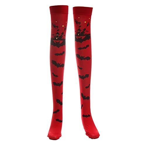 JIER Fledermaus Strümpfe Halloween Karneval Strümpfe Overknees Bat Vampir Hexe Gothic Halterlose Kniestrümpfe Strumpfhose Socken Socks Strumpf (Rot)