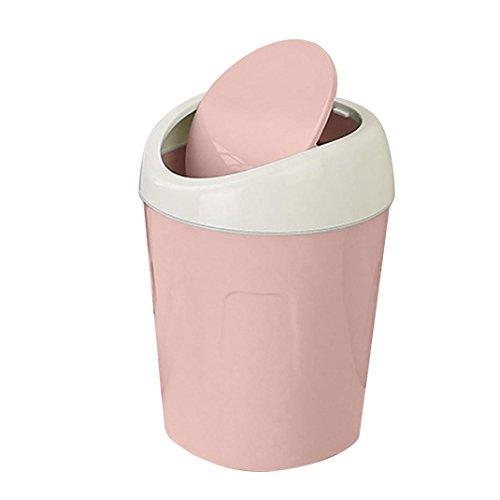 Gaddrt Mülleimer Mini Creative Covered Desktops Küche Wohnzimmer Büro Trompete Plastik Tisch Schreibtisch Mülltonne Abfalleimer mit einem Schwingdeckel (rosa)