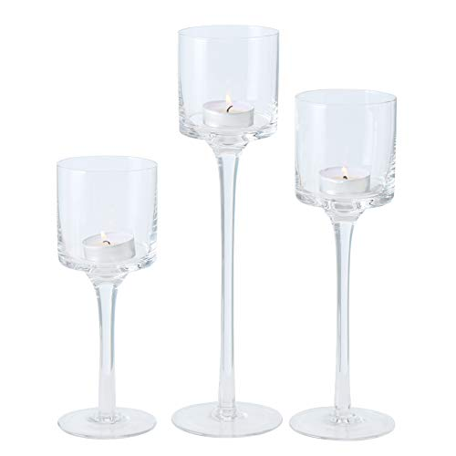 Nantucket Baby Long Stem Candle Holders, Set of 3, Crystal Clear Glass, 3 Inch Diameter Cups, 11.75, 9.75, and 7.75 Inches Tall, for Tea Lights and Votives