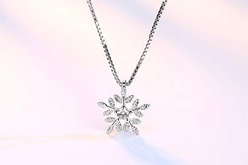 yqs Collar de plata de ley 925 Zircon copo de nieve Neckace para las mujeres regalo cadena gargantilla collares collar de Navidad