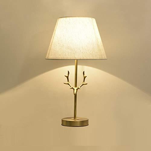 Lohual, Tischlampe, Geweih voller Kupfer Leinen Lampe Tischlampe, Studie Schlafzimmer Nachttischlampe Wohnzimmer Dekoration Gegenlampe, B Abschnitt, keine Lichtquelle