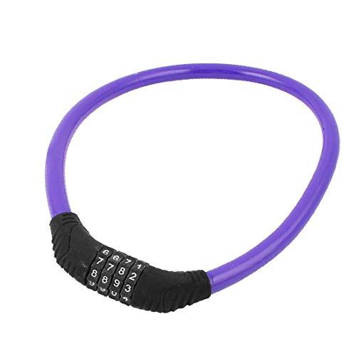 Xyxz Bicicleta Bicicleta Ciclo De Alto Rendimiento Cable De Alambre De Acero Combinación Esencial De 4 Dígitos Bloqueo De Contraseña Bien Hecho Púrpura