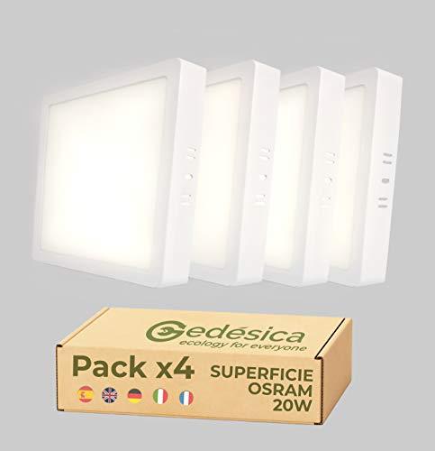 PACK X4, Lamparas de techo, Plafon Led techo, 20W 2480LM diámetro 210mm cuadrado, downlight led techo, Dormitorio, Salon, Pasillos, Baños, Clase eficiencia energetica A++ (4000K-luz blanca neutra)