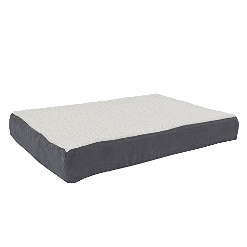 PETMAKER Orthopedic Sherpa Top Pet Bed with Memory Foam and Removable Cover 30x20.5x4 Gray