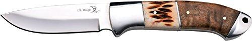 ELK RIDGE Couteau d'extérieur Hunter Ox os Inlay Racine de Bois, Longueur Totale cm : 20,32, elkr 1177