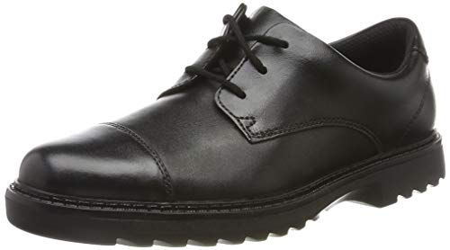 Clarks Jungen Asher Soar Y Derbys, Schwarz (Black Leather), 36 EU