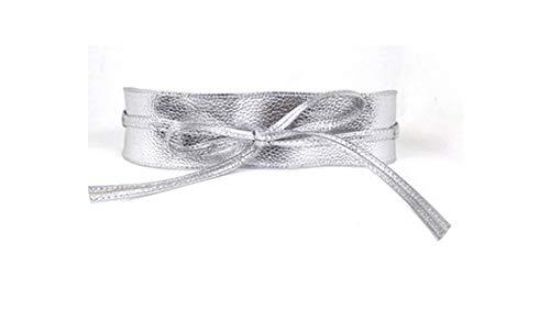 Vrouwen Riemen Brede Riem Zelf Tie Tailleband Riemen voor Vrouwen Bruidsjurk Taille Band Present-Silvery-size