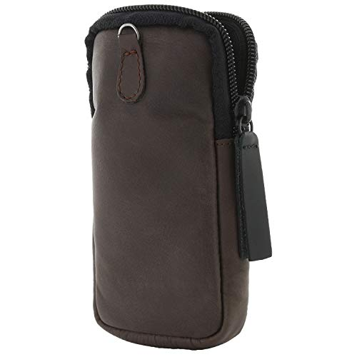 XiRRiX Leder Tasche für Fahrradcomputer - Bildschirmschutz Hülle/Schutzhülle für Bordcomputer kompatibel mit Garmin Edge Explore/Edge 1030 / Sigma Sport Rox 12.0 - Bildschirmschutz - braun/schwarz