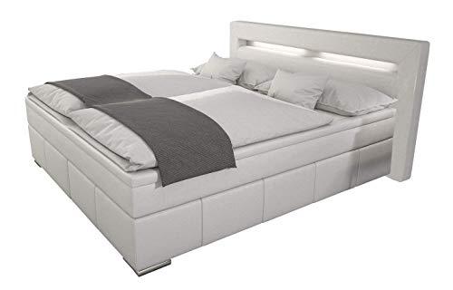 SEDEX Box Boxspringbett 180x200 / Bett inkl. LED/Doppelbett/Hotelbett/Designerbett/Kunstleder weiß