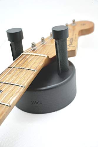 Soporte guitarra pared para guitarra electrica y guitarra acústica hecho de madera maciza de Nogal Americano Fabricado en España Colgador guitarras eléctricas y guitarras acústicas. (Negro mate)