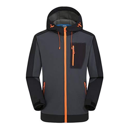 HEVÜY Herren Softshell Funktions Outdoor Regen Jacke Sport Freizeitjacke Softshell Jacke Outdoorjacke Windbreaker Übergangs Jacke Hoodie