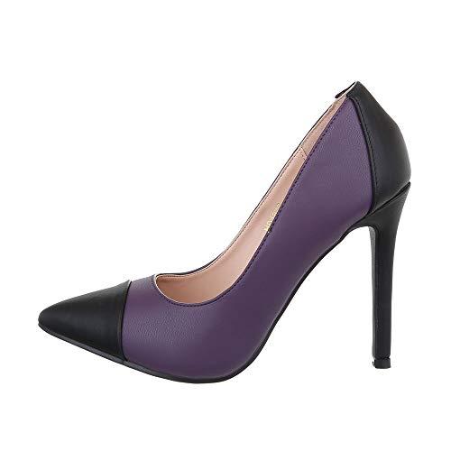 Ital Design Damenschuhe Pumps High Heel Pumps Synthetik Lila Schwarz Gr. 37