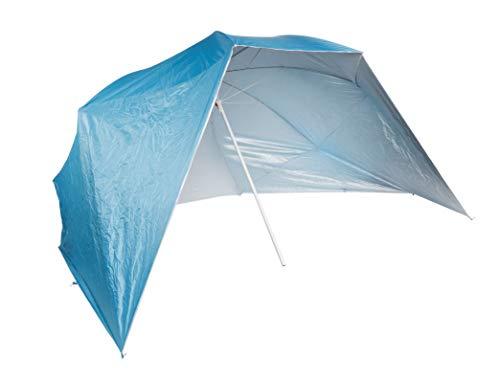 Parasol avec parois latérales - 2,4 m - Bleu - Protection UV 50+ - Parapluie de plage