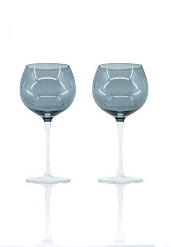 Sparkleware Smoked Grey Elegant Gin Glasses Set of 2 Fully Gift Boxed (Grey)
