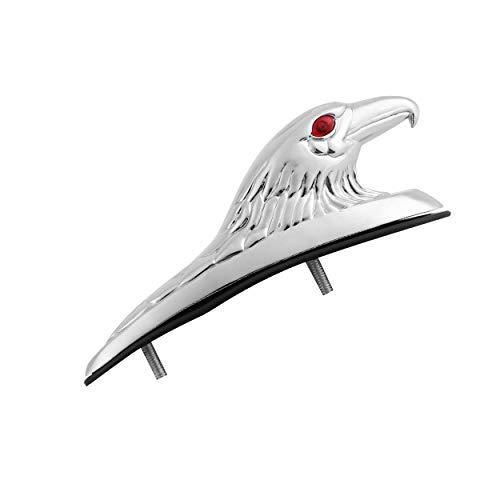 Lorenlli Diseño de Forma de Cabeza de águila cromada ATV Ornamento de Marco de Guardabarros Delantero Pieza de Acento Guardabarros Delantero para Motocicleta Moto de Coche