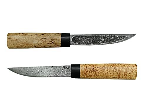 Damastmesser handgemachtes russisches Outdoor Jagdmesser -Yakut- mit Klinge aus Damaststahl, edlem karelische Maserbirke Holzgriff und Lederscheide, hochwertige Handarbeit aus Russland.