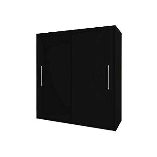 E-MEUBLES Armoire, Penderie avec 2 Portes coulissantes (L x H x P): 204x218x58 Nico (Noir)
