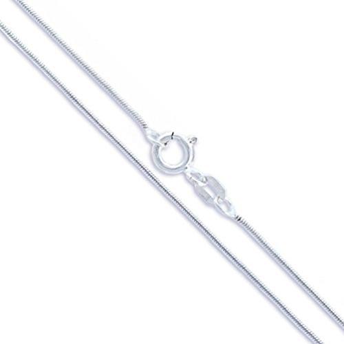Cadena de serpiente mágica de plata de ley 925 de 1 mm, collar brasileño, tamaños de 35,56 cm, 40,6 cm, 50,8 cm, 55,8 cm, 60,2 cm y 76,2 cm Plateado