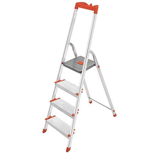 SONGMICS Leiter 4 Stufen, Stehleiter, Trittleiter, 12 cm breite Stufen, Klappleiter, Werkzeugschale, bis 150 kg belastbar GLT004WT01