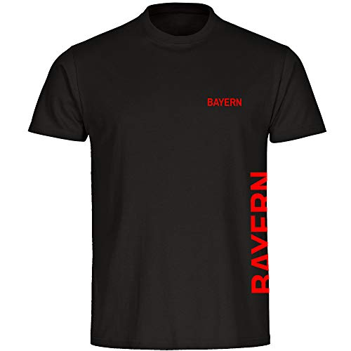 Multifanshop Kinder T-Shirt Bayern seitlich - Schriftzug auf der Brust und auf der Seite - schwarz - Größe 92 bis 176 - Fußball Fanartikel Fanshop,Farbe:schwarz,Größe:104