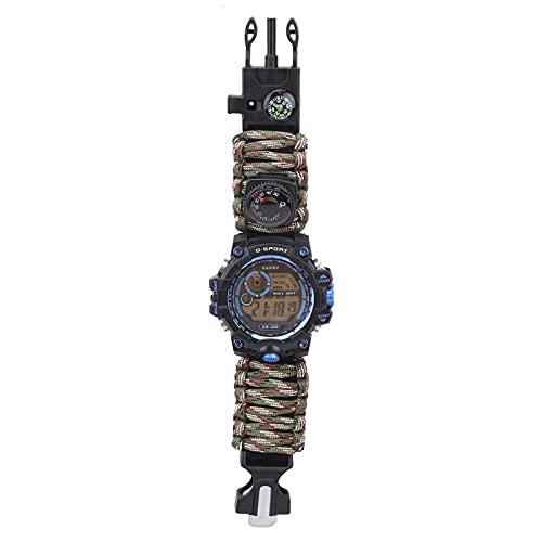 Yinuoday Multi-Functional Wasserdichte Uhr Regenschirm Seil Camping Abenteuer Pfeife Kompass Watchsldiercam