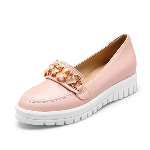 baqijian Women Boat Shoes Pu Casual Women Loafers Slip On Flats Shoes Flat Heels Footwear Pink
