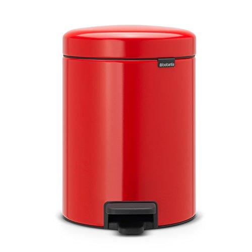 Brabantia Bin newIcon Cubo de Basura con Pedal, Acero Inoxidable, Rojo pasión, 5 l