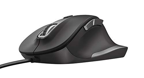 Trust Fyda Mouse con filo dalle linee convesse (design ergonomico, sei pulsanti, velocità del cursore con DPI altissimi 600-1400-2800-5000) Nero