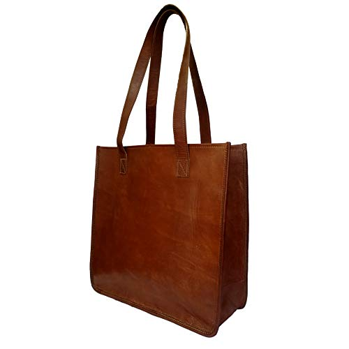 DC Elements Bolso de mano abierto para mujer Bolso vintage de cuero genuino Bolso marrón de viaje Hombro Shopper Monedero Hecho a mano regalo de san valentín informal Tamaño mediano