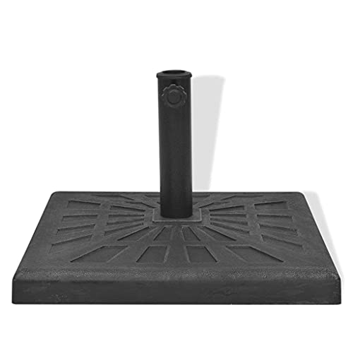 vidaXL Base Carrée de Parasol Socle de Parasol Porte-Parasol d'Extérieur Pied de Parasol Support de Parasol Jardin Terrasse Résine Noir 12 kg