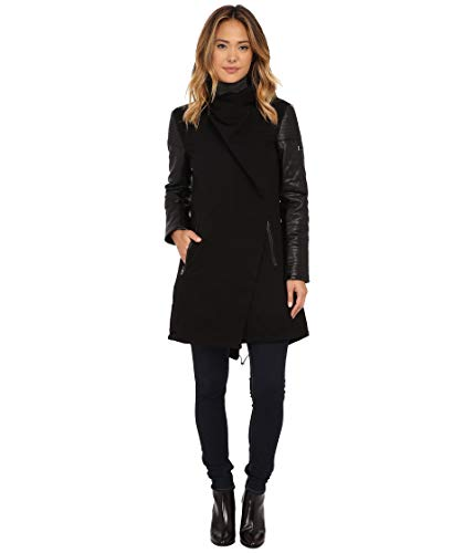 Vince Camuto Womens Parka with PU Sleeves J8171 Black MD (US 8-10) One Size