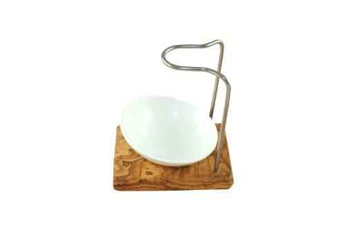 D.O.M. Design Plus Porte-blaireau en bois d'olivier avec bol en porcelaine 10 cm