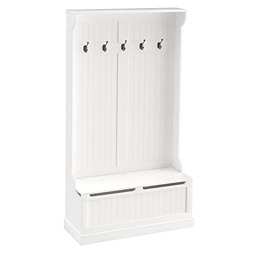 HOMCOM 71' Hall Tree Storage Bench and Coat Rack with 5 Steel Double Hooks, and Anti-Topple Anchor, White