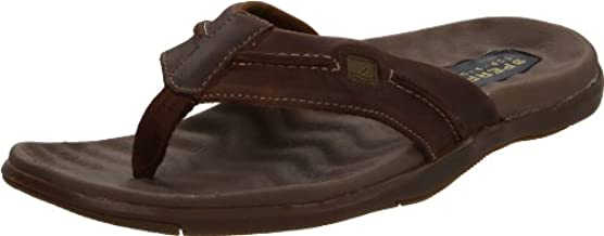 Sperry Top-Sider Men's Double Marlin Sailboat Thong,Brown/Olive,US 9 M