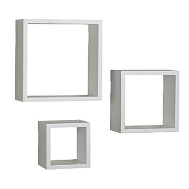 MELANNCO Square Wood Shelves Set, White, Set of 3