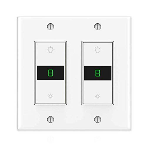 Smart Dimmer Light Switch Wifi Led Dimmer Switch Alexa 2 Gang Work with Alexa