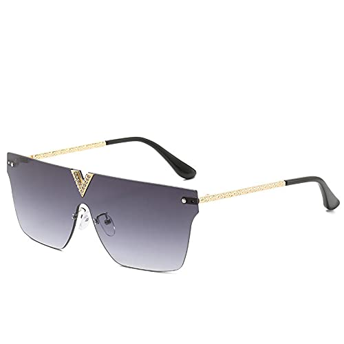 XUANTAO Gafas de Sol de una Pieza de Metal en Forma de V sin Montura Europeas y Americanas Gafas de Sol de Personalidad para Hombres y Mujeres Gafas de Sol clásicas