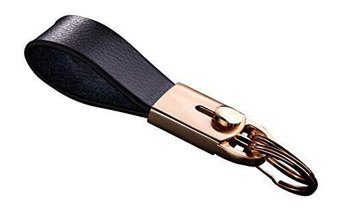Cerbery® | Eleganter Schlüsselanhänger aus Leder mit Ringen und Geschenkbox | Schlüsselband Schlüsselbund Schlüsselhalter Schlüsselring Auto Foto Gravur Ring | Damen Herren | Geschenk (Gold)