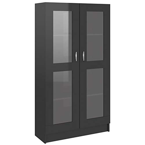 Tidyard Vitrinas de salón Vitrinas de exposición Vitrina de aglomerado Negro Brillante 82,5x30,5x150 cm