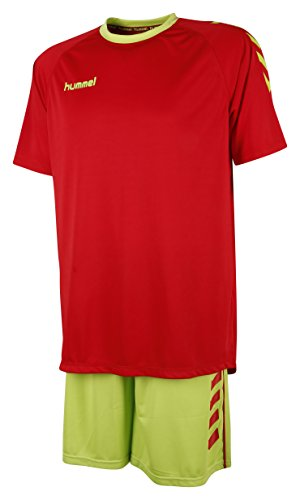 Hummel Unisex Trikot-Set Essential, True Red /Green Glow, M, 06-095-4084