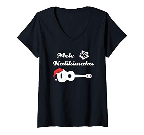 Womens Ukulele Christmas Shirt - Mele Kalikimaka Hawaiian Xmas Gift V-Neck T-Shirt