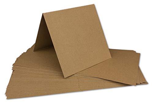 50 Kraftpapier-Karten Set Quadratisch Falt-Karten Natur-Braun 13,5 x 13,5 cm - 220 g/m² mit Brief-Umschlägen Quadratisch 14 x 14 cm - 90 g/m² Naturbraun (Kraftpapier)
