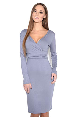OxydCollection dames wikkeljurk jurk jurk jurk jurk tuniek cocktailjurk lange mouwen V-hals maat 36 38 40 42, 8130 grijs 2XL/3XL.