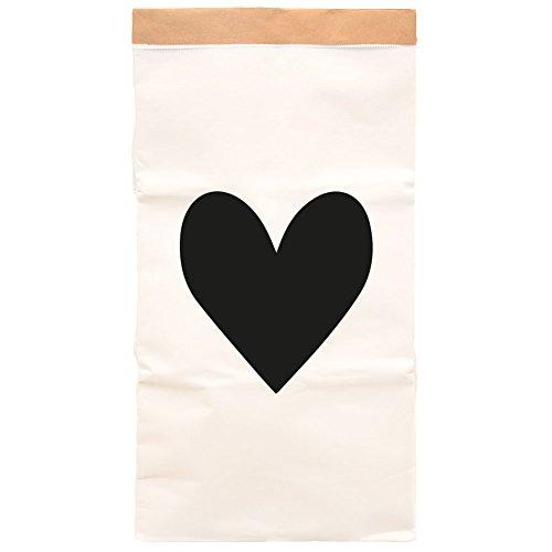 Paper-Bags zur Aufbewahrung von Spielzeug, Wäsche und weiteren Krimskrams - Beutel/Sack aus Papier - Papiertasche Motiv Herz einzeln