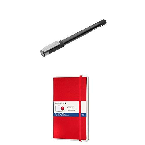 Moleskine Pen+ Ellipse Smartpen - digitaler Schreibstift/Kugelschreiber für Android und iOS (Moleskine Notes App) + Paper Tablet - Zusatznotizbuch für das Smart Pen+, Dotted, Hardcover, A5, Rot